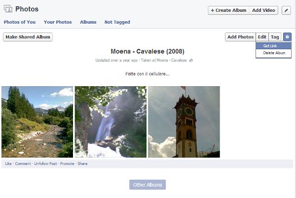link pubblico album facebook