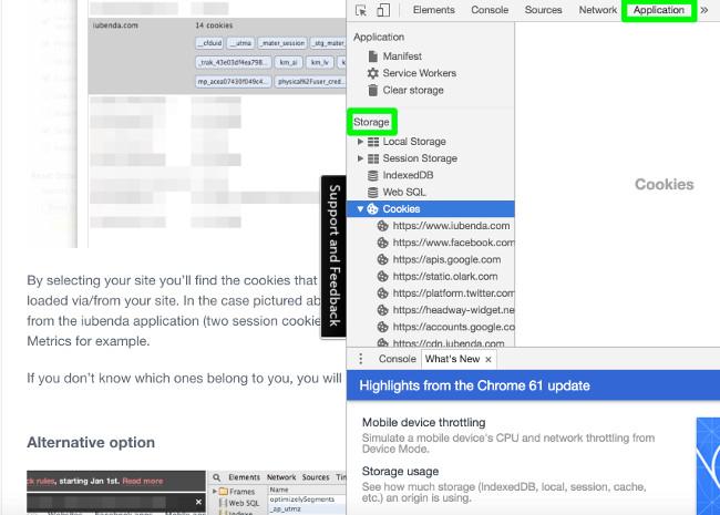 Analisi cookie installati da sito con browser