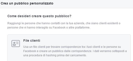 pubblico personalizzato facebook