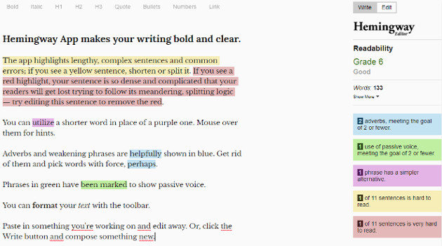 hemingway app tool copywriting